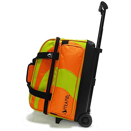 Pyramid Path Deluxe Double Roller Bowling Bag (Orange/Lime Green) ()