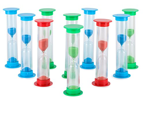 Sand Timer Set (2 Min) Large 10pcs Pack - Colorful Set of Two Minutes Hour Glasses for Kids - Color: Blue, Green, Red