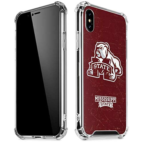 Skinit Mississippi State Bulldogs Distressed iPhone X/XS Clear Case - Officially Licensed Mississippi State Phone Case - Slim, Lightweight, Transparent iPhone X/XS Cover