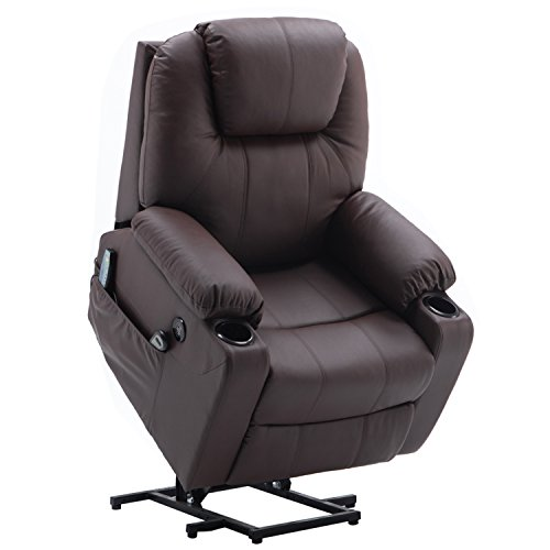 Mcombo Electric Power Lift Massage Sofa Recliner Heated Chair Lounge w/Remote Control USB Charging Ports, 7040 (Brown) (Heated Massage Chair)