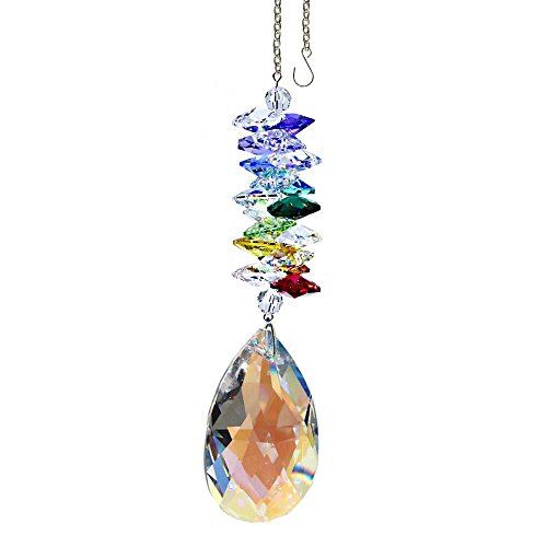 Crystal Suncatcher 5 inch Colorful Crystal Ornament Aurora Borealis Faceted Almond Prism Rainbow Maker Cascade Made with Genuine Swarovski Crystals