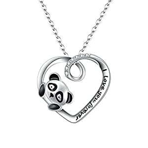 FANZE Women Jewerly-925 Sterling Silver Cubic Zirconia Cute Panda Love Heart Pendant Necklce- I Love You Forever, Rolo Chain 18''