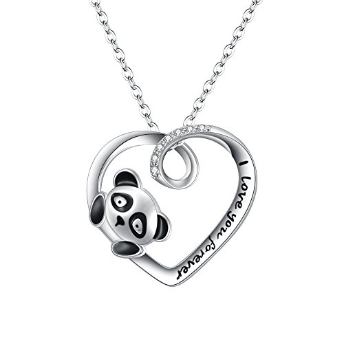 FANZE Women's Graduation Gift 925 Sterling Silver CZ Cute Animal Panda Love Heart Pendant Necklce With Words Engraved-