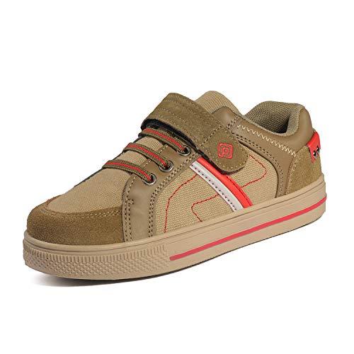 DREAM PAIRS Little Kid Boys' 151014-K Khaki Beige Red School Loafers Sneakers Shoes Size 3 M US Little Kid