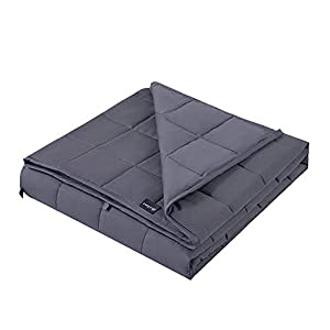 Gut Health Shop 41G5a776oHL._SS300_ Hiseeme Weighted Blanket 15lbs for Adult (48''x72'', Twin Size) with Glass Beads - Dark Grey