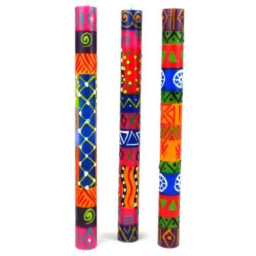 Nobunto Set of Three Boxed Tall Hand-Painted Candles - Shahida Design