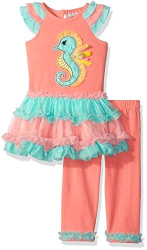 Rare Editions Baby Girls' Seahorse Tutu Legging Set, Peach/Aqua, 12 Months