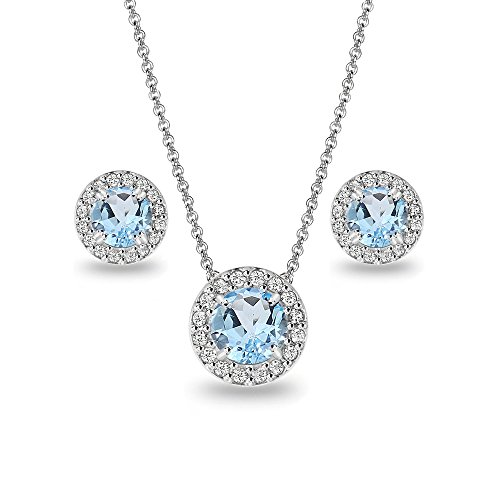 Sterling Silver Blue Topaz and White Topaz Round Halo Necklace and Stud Earrings Set
