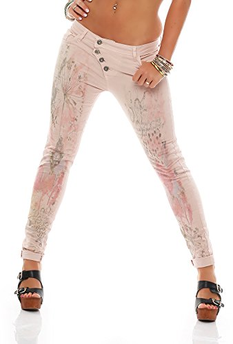 MATYFASHION coole Damen Jeans, 100% Cotton, Boyfriend Sommerhose mit  floralem Design BF 001042: Amazon.de: Bekleidung