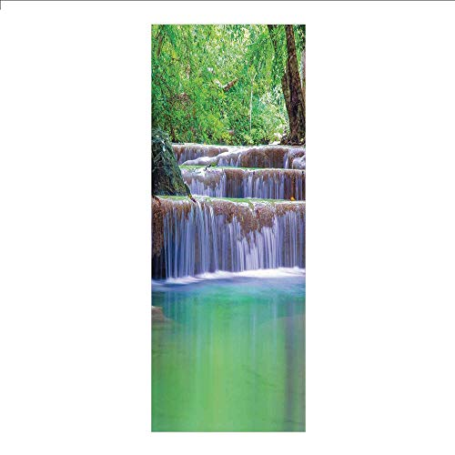 3D Decorative Film Privacy Window Film No Glue,Waterfall,Fairy Step Cascade Waterfalls Pours Into Crystal Clear Lake Exotic Tropical,Green Brown,for -
