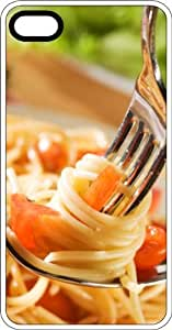 Italian Pasta Dish Fork & Spoon White Rubber Case for Apple iPhone 5 or iPhone 5s