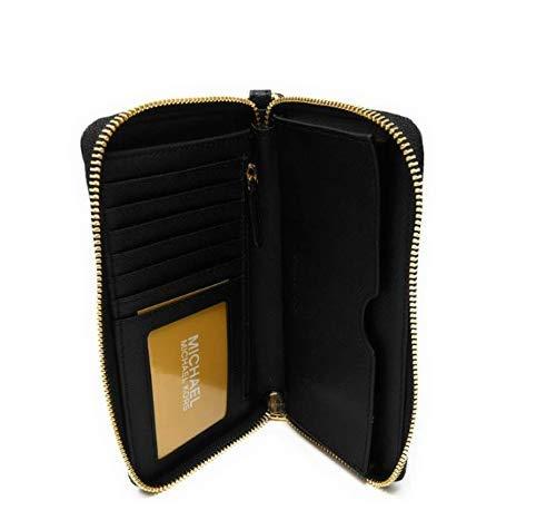 Michael Kors Women's Jet Set Travel Large Smartphone Wristlet (Black/Gold)