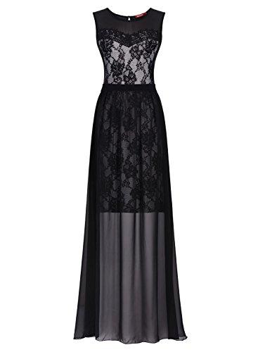 Miusol Women's Floral Lace Sleeveless Halter 2 Pieces Elegant Bridesmaid Maxi Dress