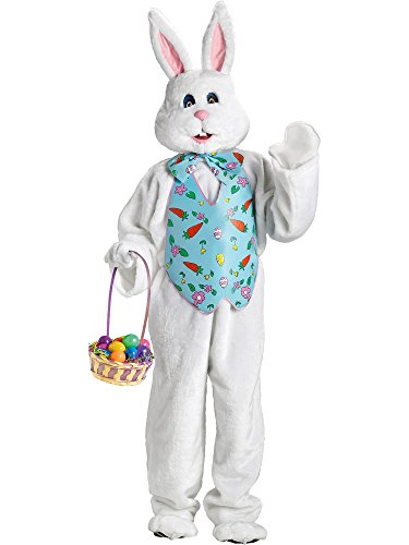 Fun World Bunny Deluxe Adult Costume White with Blue Easter Vest and Mascot Head, (Easter Bunny Head Costumes)