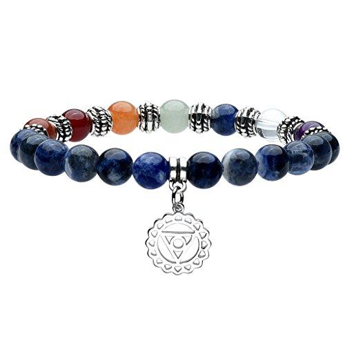 Top Plaza 7 Chakra Healing Crystal 8mm Gemstone Beads Meditation Energy Natural Stone Stretch Bracelet - Sodalite(Vishuddha Chakra) (Bead Rainbow Bracelet)