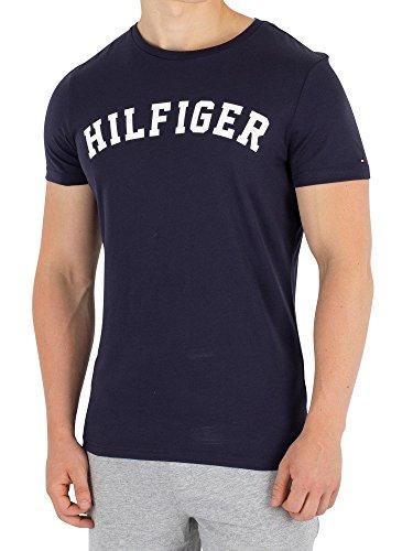 Tee Logo Arched (Tommy Hilfiger Men's Arched Logo T-Shirt, Blue, Large)