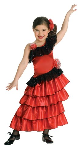 Spanish Dancer Fancy Dress Costume (Child's Red and Black Spanish Princess Costume, Large)