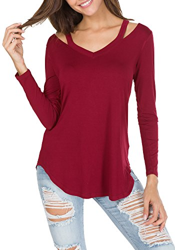 Long Sleeve V-neck Blouse - levaca Womens V-Neck Long Sleeve Simple Slim Casual T Shirts Blouse Wine M