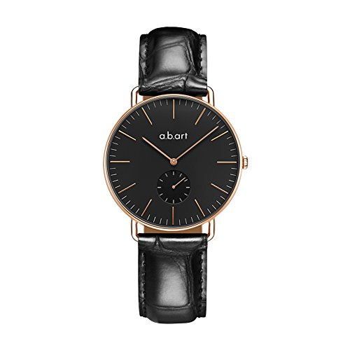 Wrist Watch for Women hers watches a.b art FR36-015-23L Rose Gold Case Fashion Business Watches (Black Bracelet) by a.b.art