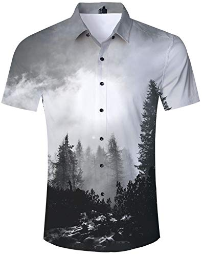 Foggy Forest Shirt Casual Tropical Vacation Aloha Collared Tropical Shirts Short Sleeve Foggy Forest Black White Forest Trees Stones Oil Painting Fitted Button Down Shirt Vintage Hawaiian Shirts