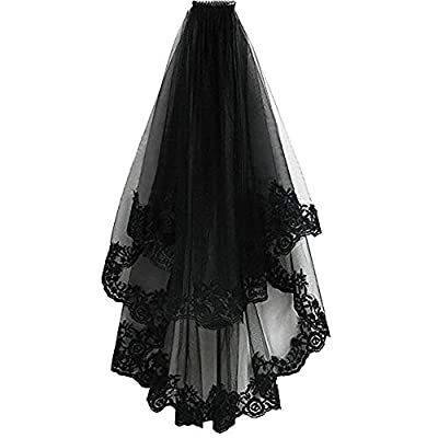 Conlink Black Lace Veil Halloween Veil Hair Witch Women Wedding Veil for Bride Cosplay Costume With Comb Creative 2 Tiers