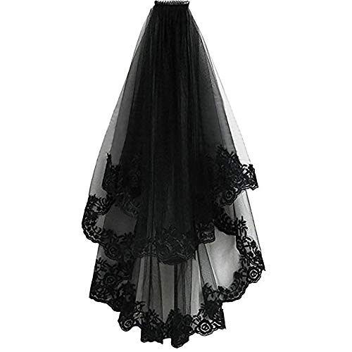 (Conlink Black Lace Veil Halloween Veil Hair Witch Women Wedding Veil for Bride Cosplay Costume With Comb Creative 2)