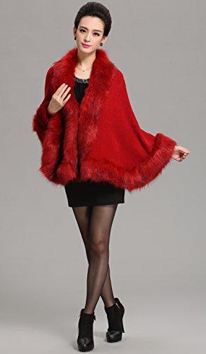 Cape Coat Sweater Wine Luxury Cloak Wraps Faux Bridal Shawl Fur Women Caracilia TUvqBA7OB
