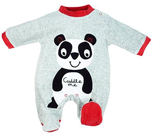 Baby Strampler Schlafanzug aus Nicki Unisex Panda Rot Gr. 62/68 (3/6M)