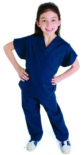 Landau Kid's Unisex Solid Scrub Set Navy ()
