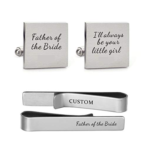 MUEEU Father of The Bride Cufflink Engraved I Will Always Be Your Little Girl Dad Father Daddy (Square Cufflinks and Tie Clip)]()
