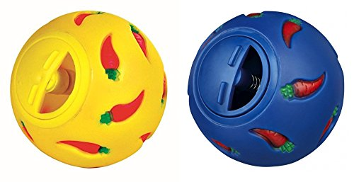 Niteangel Treat Ball, Snack Ball for Small Animals (Small, Yellow & Blue)
