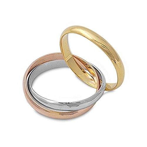 Sterling Silver Trinity Rolling Tri Color Engagement Wedding Promise Ring, 3mm Each Band Choose Your Color (10) ()