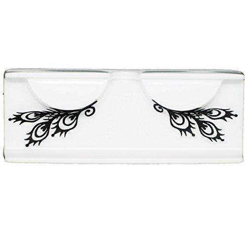 EMILYSTORES Peacock Pattern Feather Shape Fashion Black Lace Paper Lashes False Eyelashe 1 Pairs ()