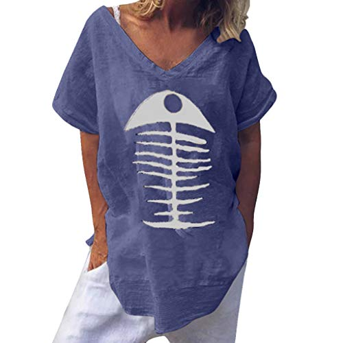 (Gemira Women Casual Blouse Fish Bone Print Boho Loose Short Sleeve Linen Shirts Baggy Graghic Funny Tops)