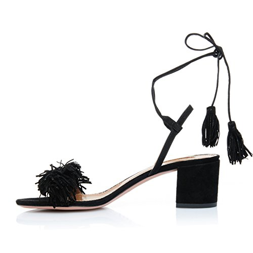 Comfity Block Heels for Women Women's Lace Up Sandals Fringed Tassel Shoes Ankle Ties Dress Sandals 9 M US Black