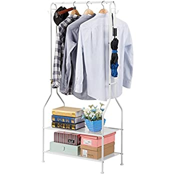 LANGRIA Heavy Duty Commercial Grade Clothing Garment Rack 2 Tier Entryway Metal Coat And Shoe Bench Storage Stand With Single Rod 4 Hooks For Home