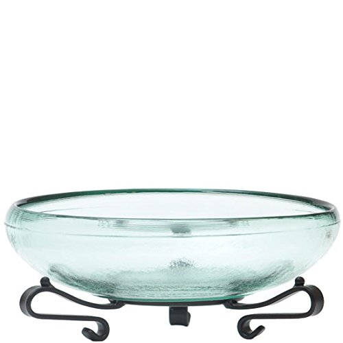 Couronne Company M206-G7006 Ivy Recycled Glass Bowl & Short Scroll Stand, 7 1/4