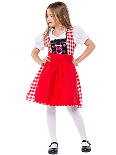Joygown Girl's Oktoberfest Red Plaid Halloween German Beer Bar Maid Costume L -