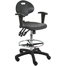 Delightful BenchPro Deluxe Polyurethane HD Cleanroom Lab Chair/Workbench Stool With  Footring And Adjustable Armrest,