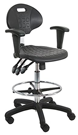 Nice BenchPro Deluxe Polyurethane HD Cleanroom Lab Chair/Workbench Stool With  Footring And Adjustable Armrest,