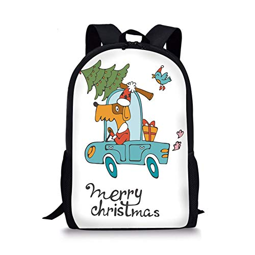 School Bags Christmas,Blue Vintage Car Dog Driving with Santa Costume Cute Bird Tree and Gift Present,White Multi for Boys&Girls Mens Sport Daypack -