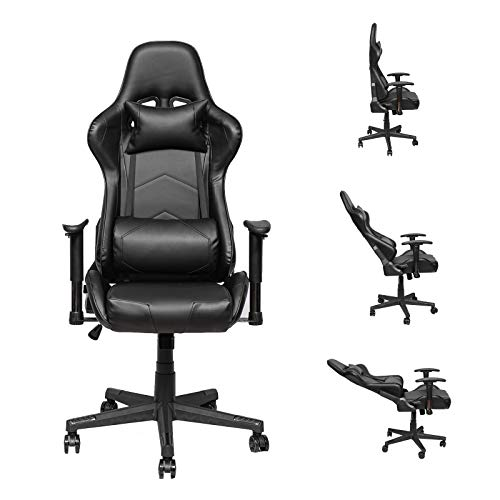 Gaming-Chair-Racing-Office-Computer-Game-Chair-Height-Adjustment-Recliner-Swivel-Rocker-with-Headrest-and-Lumbar-Pillow-E-Sports-Chair-Black