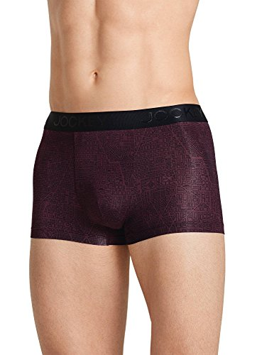 Jockey Men's Underwear Lightweight Travel Microfiber Trunk, Black/Bordeaux Print, S