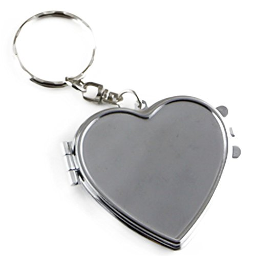 Demarkt Double-sided Folding Mirror Key Ring Heart-shaped,Square KeychainTravel Portable Compact Pocket Handbag Cosmetic (Heart - Compact Mirror Keychain