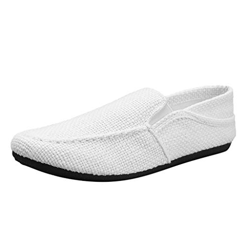 (✦◆HebeTop✦◆ Men's Casual Espadrilles Loafers Flats Shoes Breathable Slip-on Canvas Sneaker White)