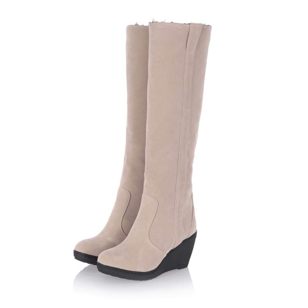 HOESCZS 2018 Plus Größe 34-43 Mode Hinzufügen Pelz Warme Warme Warme Winterschnee Stiefel Frau Schuhe Keilabsatz Mittlere Wadenstiefel Weibliche Schuhe,  b48e53