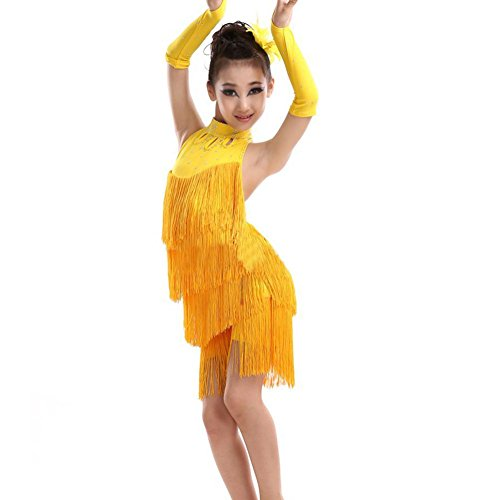 Children's Salsa Costumes (ESHOO Girls Tassel Latin Salsa Dance Dress Sleeveless Halter Dance Costume 4-11 Year)