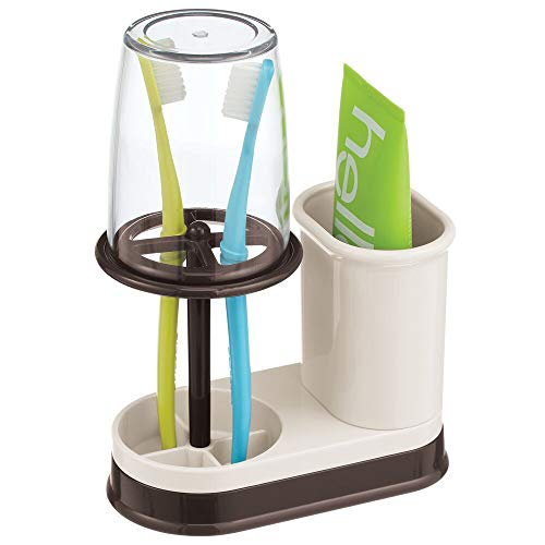 mDesign Decorative Plastic Bathroom Vanity Countertop Toothpaste & Toothbrush Holder Stand with Rinsing Cup/Cover - Dental Center Holds Electric Toothbrushes - Cream/Bronze
