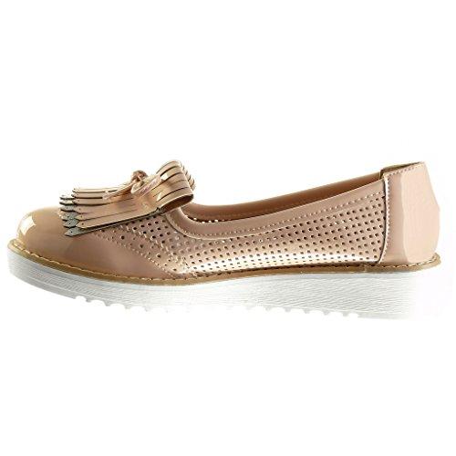 Angkorly - damen Schuhe Mokassin - Slip-On - Plateauschuhe - Franse - Knoten - Fischnetz schuh Keilabsatz high heel 3 CM - Rosa