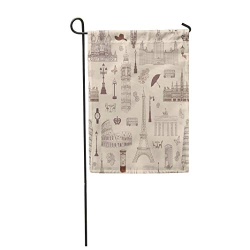 Semtomn Garden Flag 28x40 Inches Print On Two Side Polyester Travel Vacation in Europe to Visit Famous Places of Landmark Tiled Pattern Home Yard Farm Fade Resistant Outdoor House Decor Flag